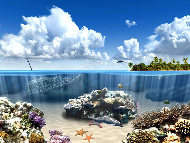 Windows 7 Aqua Dolphins 3D Screensaver 1.0.6 full