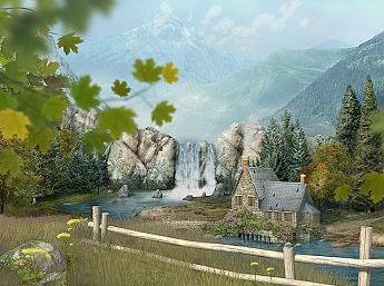 Mountain Waterfall 3D