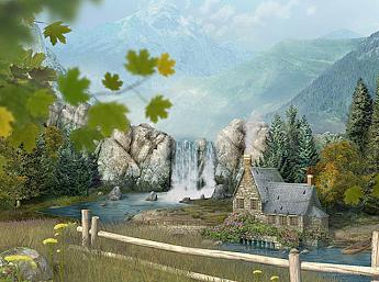 Mountain Waterfall 3D Image plus grande